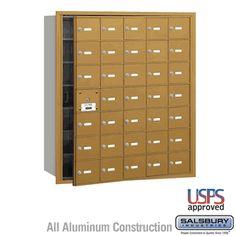 35 Door (34 Usable) 4B  Horizontal Mailbox Gold Front Loading A Doors USPS Access