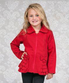 Red Beth Bow Fleece Zip-Up Jacket - Infant, Toddler & Girls