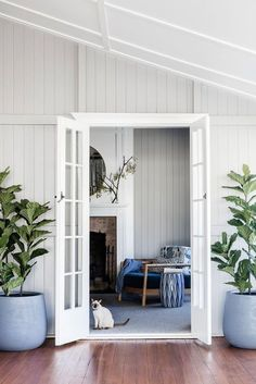 """French Doors to bedroom nursery closet. """"POPS of EMERALD & SAPPHIRE"""" An effective floor plan flip and the conversion of undercroft space transformed this Queenslander. Pops of emerald and sapphire then polished the interior scheme. Home Design, Home Interior Design, Interior And Exterior, Interior Plants, Interior Ideas, Modern Interior, Interior Shutters, Country House Interior, Home Renovation"""