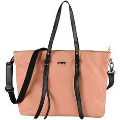C'n'c' Costume National Handbag ($235) ❤ liked on Polyvore featuring bags, handbags, salmon pink, genuine leather handbags, leather shopper, leather tote shopper, leather shopper handbags ve pink leather purse