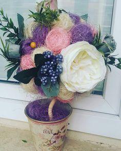 """Купить Топиарий """"нежный букет """" - цветы, букет, топиарий, пионы, нежный букет"""