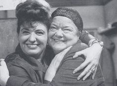 Elsie Tanner and Ena Sharples - Pat Phoenix and Violet Carson share a between the takes hug on the set of Corrie
