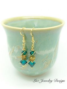 Dark green earrings - gold and green earrings