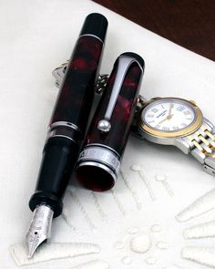 Aurora Optima Burgundy Marble fountain pen