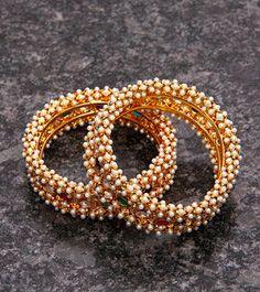 Golden,Red & Green Embellished Bangles - Set of 2