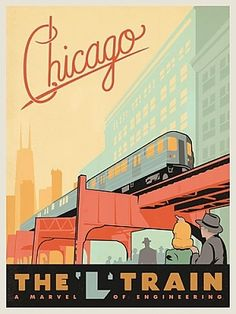 posters ,chaciago the l-train | Vintage Chicago L Train travel poster by Anderson Design Group