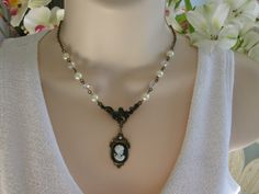 Cameo Necklace, Beaded Necklace, Pearl Beaded, Crystal, Bead Necklace, Victorian Necklace, Cameo, Vintage Inspired, Art Nouveau on Etsy, $22.00