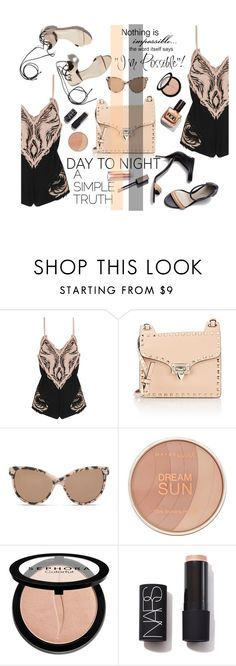 """""""One romper - One bag ..."""" by nataskaz ❤ liked on Polyvore featuring Roberto Cavalli, Valentino, STELLA McCARTNEY, Maybelline, Sephora Collection, NARS Cosmetics, 3.1 Phillip Lim, DayToNight and romper"""