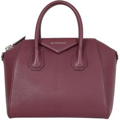 Givenchy Small leather Antigona bag (135.075 RUB) ❤ liked on Polyvore featuring bags, handbags, rosso, givenchy handbags, zipper bag, leather bags, purple handbags and real leather handbags