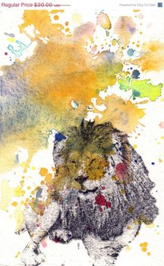 Lion in a splash of color Animal Watercolor Fine Art by idillard, $20.00