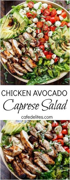 Balsamic Chicken Avocado Caprese Salad is a quick and easy meal in a salad drizzled with a balsamic dressing that doubles as a marinade! | cafedelites.com