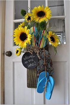 Flip Flops as Part of Welcome wreath.  Look at the cute chalkboard - you can change out the message.