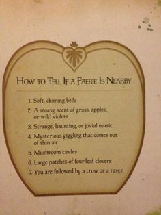 How to tell if a faerie is near.