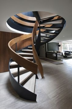 Modern Stairs // sculptural wood spiral stairs make a statement at the Casa Lomas II by Paola Calzada Arquitectos – staircase Interior Stairs, Interior Architecture, Interior And Exterior, Interior Design, Interior Shutters, Studio Interior, Contemporary Architecture, Luxury Interior, Interior Decorating