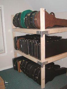 DIY shelving for storing guitar cases.