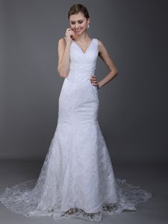 Low Cut Back V Neck Mermaid Wedding Dress