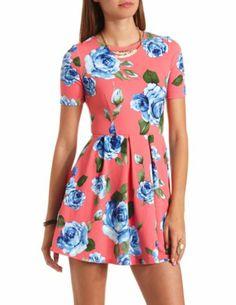 Short Sleeve Floral Print Skater Dress: Charlotte Russe