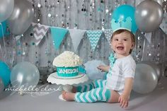 Aqua Silver White baby BOY first birthday cake smash