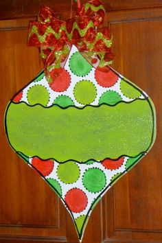 Medium Size Wooden Christmas Ornament... Christmas Decor... Christmas door hanger. $35.99, via Etsy.