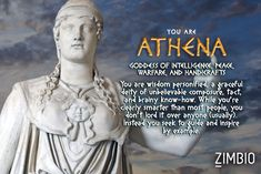 Mere mortals need not apply. Which Greek God/Goddess are you?   *I got Athena