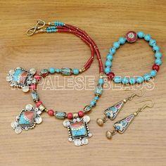 NS19 Tibetan Nepalese Design Turquoise Coral Brass Necklace Set Tibet Nepal #Eksha #NecklacesSet