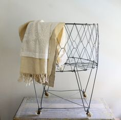 Vintage Wire Laundry Cart for my dream laundry room Laundry Cart, Laundry Bin, Laundry Hamper, Laundry Rooms, Mud Rooms, Diy Basket, Objets Antiques, Contemporary Bathroom Designs, Modern Bathroom
