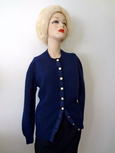 1960s Wool Sweater / navy blue wool knit cardigan / vintage fall & winter fashion