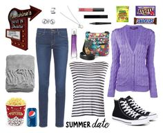 """Going to the drive-in"" by meeshtell on Polyvore featuring Converse, Frame Denim, T By Alexander Wang, Ralph Lauren Purple Label, West Bend, H&M, Bling Jewelry, Gucci, NARS Cosmetics and Forever 21"