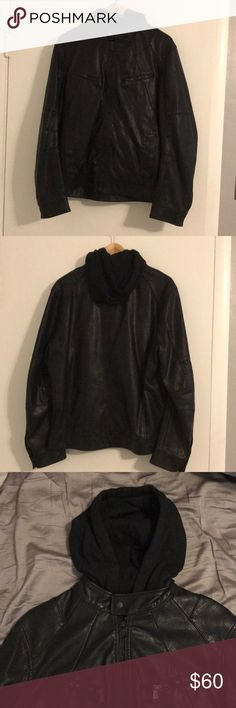 Men's Express Faux leather jacket size medium This jacket is in good shape. Cotton liner and hood. Multiple functional zippers and pockets. Size medium in Men's from Express. Cover photo is NOT the exact jacket!! Just to show the style. Please see other pictures to see exact jacket. Thank you! Express Jackets & Coats
