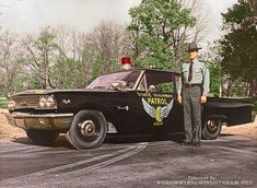 Not sure of year. Black & White Photo I colorized Old Police Cars, Ford Police, State Police, Emergency Vehicles, Police Vehicles, 1960s Cars, Chevy Camaro, Law Enforcement, Fire Trucks