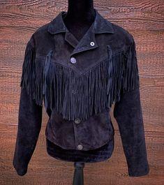 853923b0 Details about M. JULIAN Vintage 80s Black Fringe Rocker Suede Leather Jacket  Women's Medium