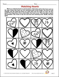 Valentine's Worksheets - word search, crossword, matching and more!