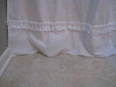 shabby shower curtain close up
