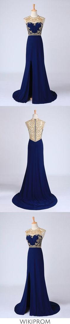 2019 Prom Dresses Scoop Neckline Column Beaded Bodice With Court Train Cheap Mermaid Prom Dresses, Split Prom Dresses, Best Prom Dresses, Cheap Evening Dresses, Tulle Prom Dress, Prom Dresses Online, Cheap Dresses, Bodice, Neckline