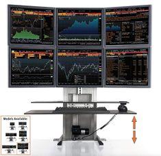 Stand Steady ErgoTech Standing Desk Converter for Stock Traders, Designers can lift 6 monitors Pc Gaming Desk, Gaming Room Setup, Computer Setup, Desk Setup, Pc Setup, Sit Stand Workstation, Stand Up Desk, Stock Trader, Day Trader