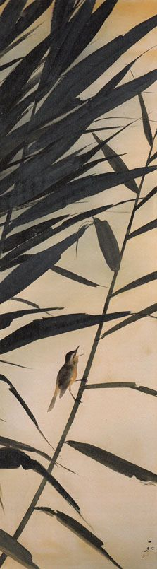 Sumi-e painting of bird on bamboo branch by Isson Tanaka