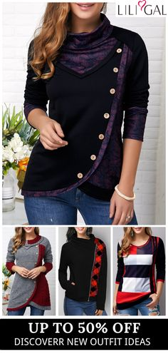 Free Shipping & Easy Return. Liligal casual sweatshirts, long sleeve printed t shirts, cute holiday tops, comfy fall winter outfits for women, shop now~ #liligal #womensfashion #tshirt #winter #sweatshirts