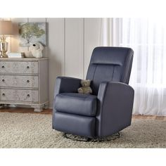Harper Leather 2-Piece Swivel Glider Recliner in Blue