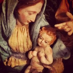 Close up if Madonna and child. Details from my own personal crèche...