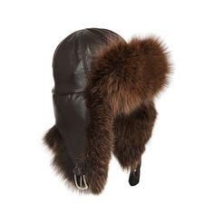 Grevi Silver Fox And Leather Aviator Hat ❤ liked on Polyvore Cappello Di  Aviatore d70f1931c8e4