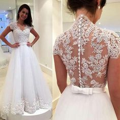 Sexy See Though Back Wedding Dresses ,Cap Sleeve Appliques Lace Wedding Gown,Vintage A line Bridal Dress