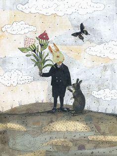 "Bunny Art - Kitchen Art - 8 x 10"" Collage Art Reproduction Print - The Romantic. $20.00, via Etsy."