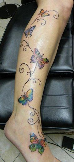 colorful butterflies tattoo
