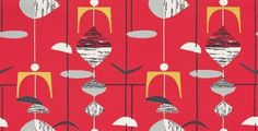 Mobiles (210212) - Sanderson Wallpapers - A classic design of random mobile shapes in bold colour combinations. Shown in the black on pillar box red with yellow highlights. Other colourways available. Please request sample for true colour match. Wide width.
