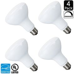 Luxrite LR31811 4Pack LED10BR30R30 10Watt LED BR30 Flood Light Bulb Equivalent to 65W Incandescent Dimmable Soft White 3000K 650 Lumens E26 standard base UL Listed and Energy Star Qualified