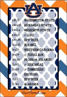 Get it for FREE on my Facebook page www.Facebook.com/StarrParnellDesigns   Printable Auburn University Football Schedule by StarrParnell, $1.00