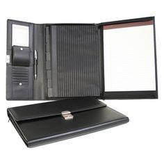 Royce Leather Black Sedona Bonded Leather Padfolio File Organizer - 750-BLACK-8