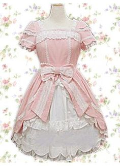Wish | Pink Short Sleeves Bow Ruffles Sweet Cotton Lolita Dress