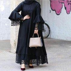 Abaya Inspirasi Gamis Syar'i ▪🏡Bandung ▪WA: ▪line: Pre Order available Modern Hijab Fashion, Abaya Fashion, Muslim Fashion, Fashion Dresses, Mode Abaya, Mode Hijab, Hijab Style Dress, Abaya Style, Dress Pesta