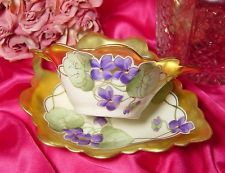 ~ANTIQUE LIMOGES~HAND PAINTED STOUFFER STUDIOS VIOLETS THICK GOLD MAYO/SAUCE SET